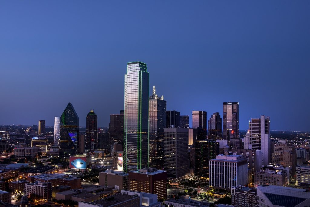 this image shows the skyline of dallas texas where one of the best resorts Four Seasons Resort & Club Dallas at Las Colinas is found