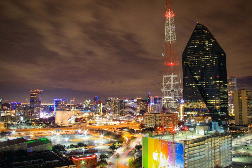 this image shows another skyline of dallas near the onmi mandalay hotel at las colinas